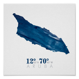 Blue Watercolor Aruba Map with Coordinates Poster
