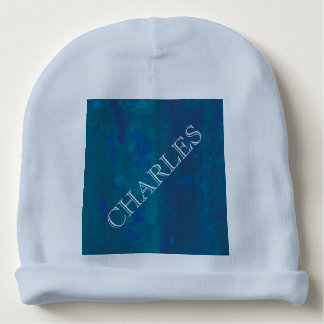 Blue Watercolor Baby Beanie