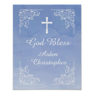 Blue Watercolor Baptism or Communion Welcome Sign