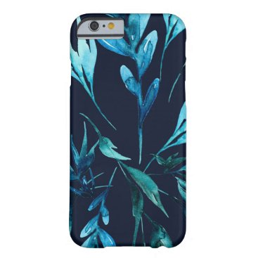 Beach Themed Blue Watercolor Botanical Elegant Chic Floral Barely There iPhone 6 Case