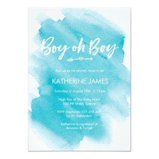 Blue watercolor Boy Baby Shower invitation