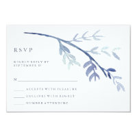 Blue Watercolor Branch Wedding RSVP Card