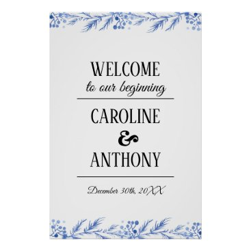 Art Themed Blue Watercolor Branches Wedding Welcome Sign