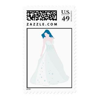 Blue Watercolor Bride Image Postage
