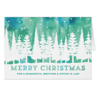 Blue Watercolor Brother & Sister in Law Christmas Card