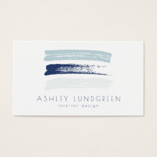 Blue Watercolor Brush Strokes Modern Business Card