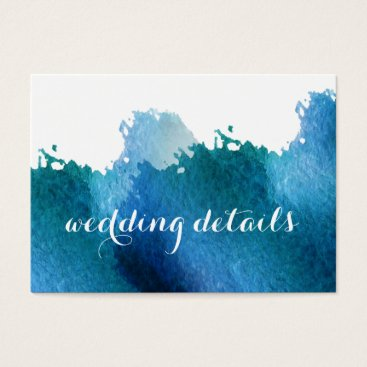 blue watercolor brush strokes Wedding details card