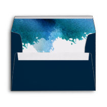 Blue Watercolor Brush Strokes Wedding envelopes