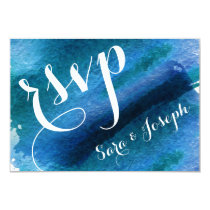 Blue Watercolor Brush Strokes Wedding rsvp Card
