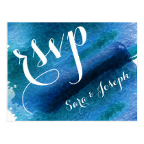 Blue Watercolor Brush Strokes Wedding rsvp Postcard