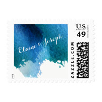 Blue Watercolor Brush Strokes Wedding stamps