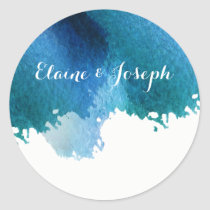 blue watercolor brush strokes wedding stickers