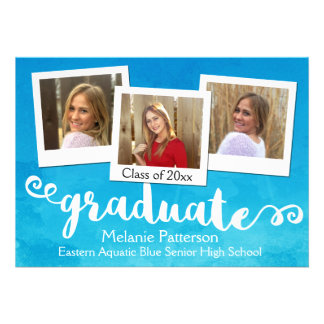Blue Watercolor Brushed 3 Photo Graduation Card