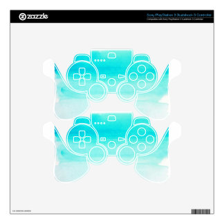 blue watercolor brushstroke skin for PS3 controller