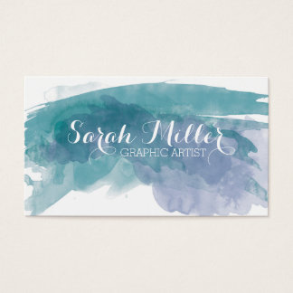 Blue Watercolor Business Card