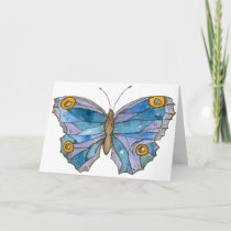 Blue Watercolor Butterfly Happy Birthday Card
