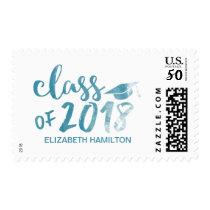 Blue Watercolor Class of 2018 Script Graduation Postage