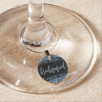 Blue Watercolor Confetti Dots Wedding Bridesmaid Wine Charm