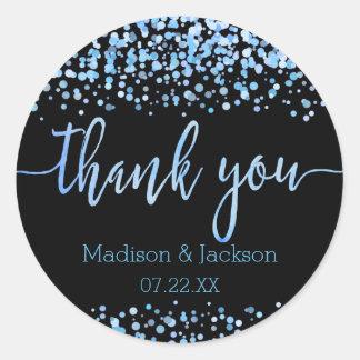 Blue Watercolor Confetti Dots Wedding Favor Classic Round Sticker