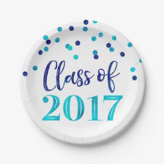 Blue Watercolor Confetti Graduation 2017 Paper Plate