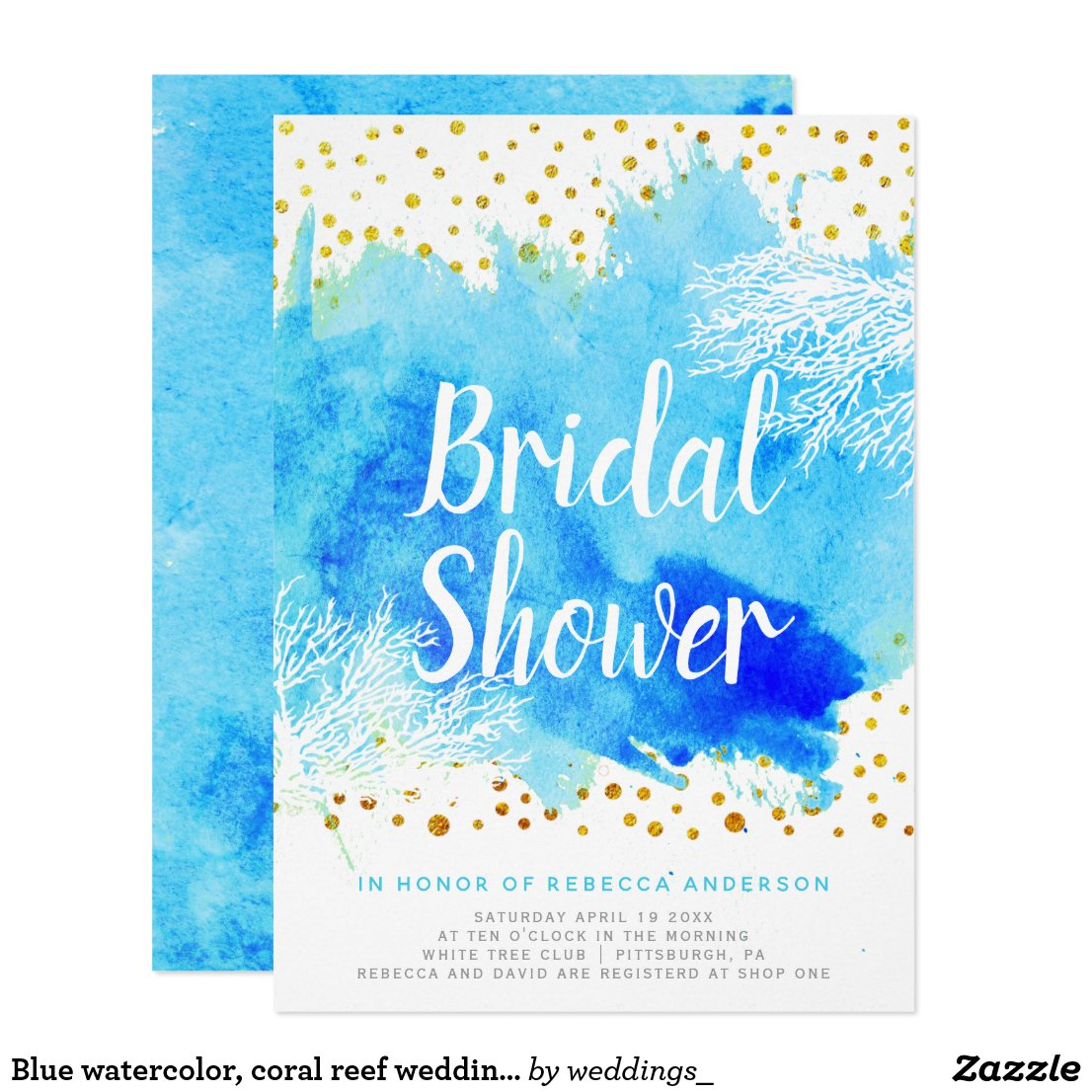 Blue watercolor, coral reef wedding bridal shower card