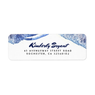Blue Watercolor Crystal Modern Wedding Label