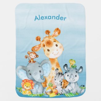 Blue Watercolor Cute Safari Jungle Animals Baby Blanket
