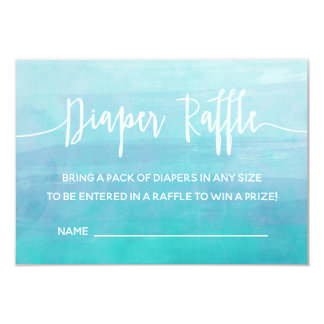 Blue Watercolor Diaper Raffle Card Ticket Shower