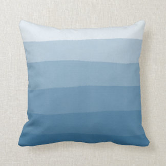 Blue Watercolor Dip Dye Gradient Stripe Throw Pillow
