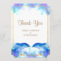 Blue Watercolor Dolphin Thank You Card