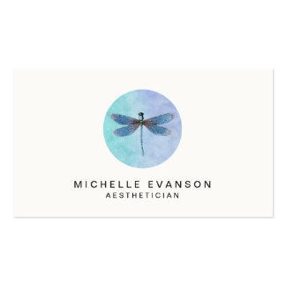Blue Watercolor Dragonfly Elegant Logo Business Card