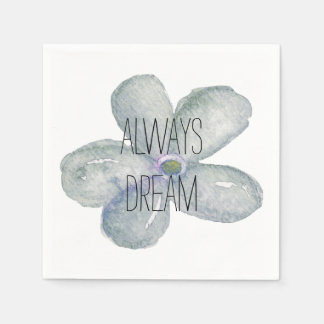 Blue Watercolor Dream Flower Paper Napkin