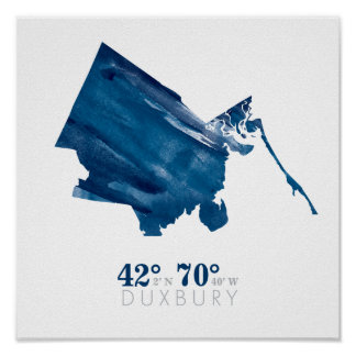 Blue Watercolor Duxbury MA Map with Coordinates Poster