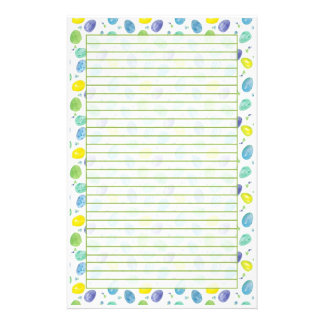 Blue Watercolor Easter Eggs Green Lined Stationery