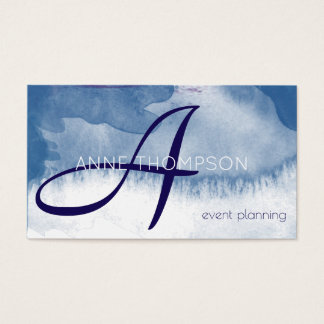 blue watercolor events custom profession business card