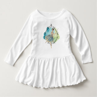 Blue Watercolor Fairy Wand Leaf Edged Frame Dress