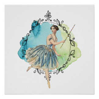 Blue Watercolor Fairy Wand Leaf Edged Frame Poster