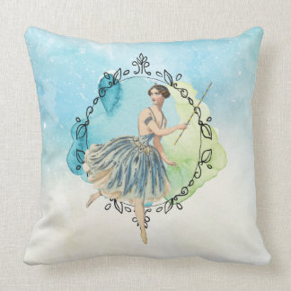 Blue Watercolor Fairy Wand Leaf Edged Frame Throw Pillow