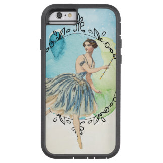 Blue Watercolor Fairy Wand Leaf Edged Frame Tough Xtreme iPhone 6 Case