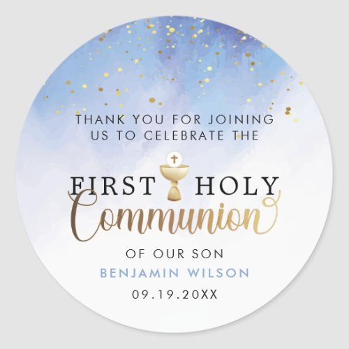 Blue Watercolor First Holy Communion Thank You Classic Round Sticker