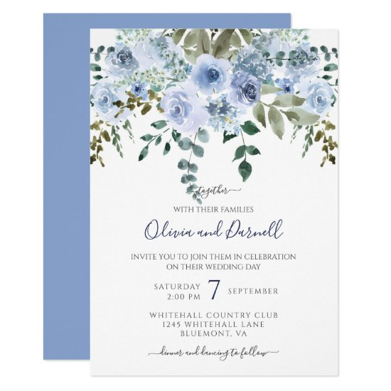 Blue Watercolor Floral Bouquet Wedding I Lt Blue Invitation
