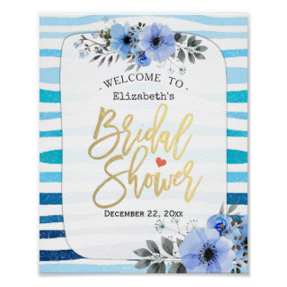 Blue Watercolor Floral Bridal Shower Welcome Sign