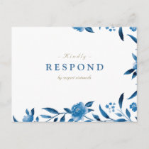 Blue Watercolor floral Chinoiserie Wedding RSVP Invitation Postcard