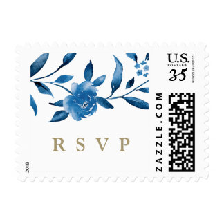 Blue Watercolor floral Chinoiserie Wedding RSVP Postage