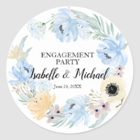 Blue Watercolor Floral Engagement Party, Editable Classic Round Sticker