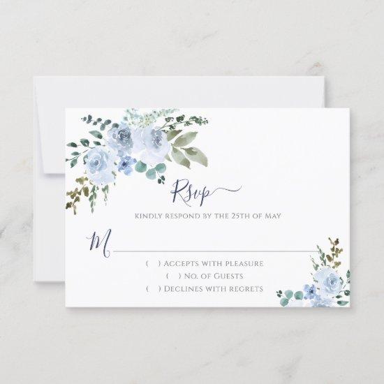 Blue Watercolor Floral | Navy RSVP Card