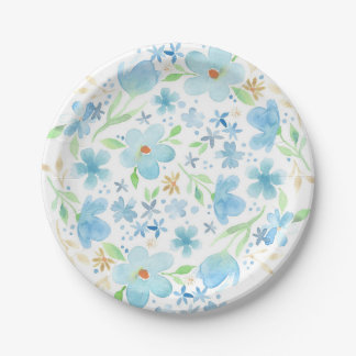 Blue watercolor floral paper plate