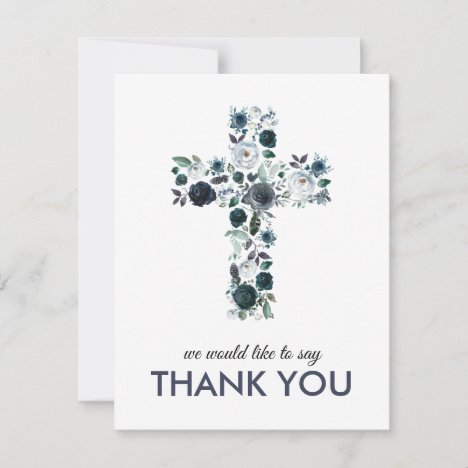 Blue Watercolor Floral Religious Cross Thank You Card