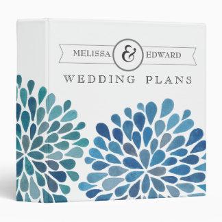Blue Watercolor Floral Wedding Planner Binder