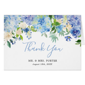 Blue Watercolor Floral Wedding Thank You Note Card